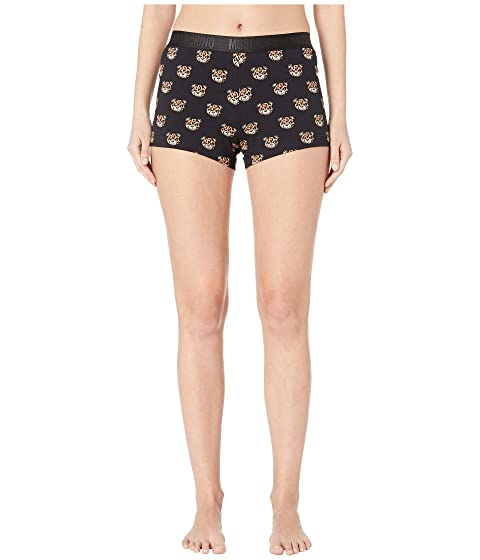 Moschino Jersey Stretch Shorts w/ Tiger Teddy Bears All Over