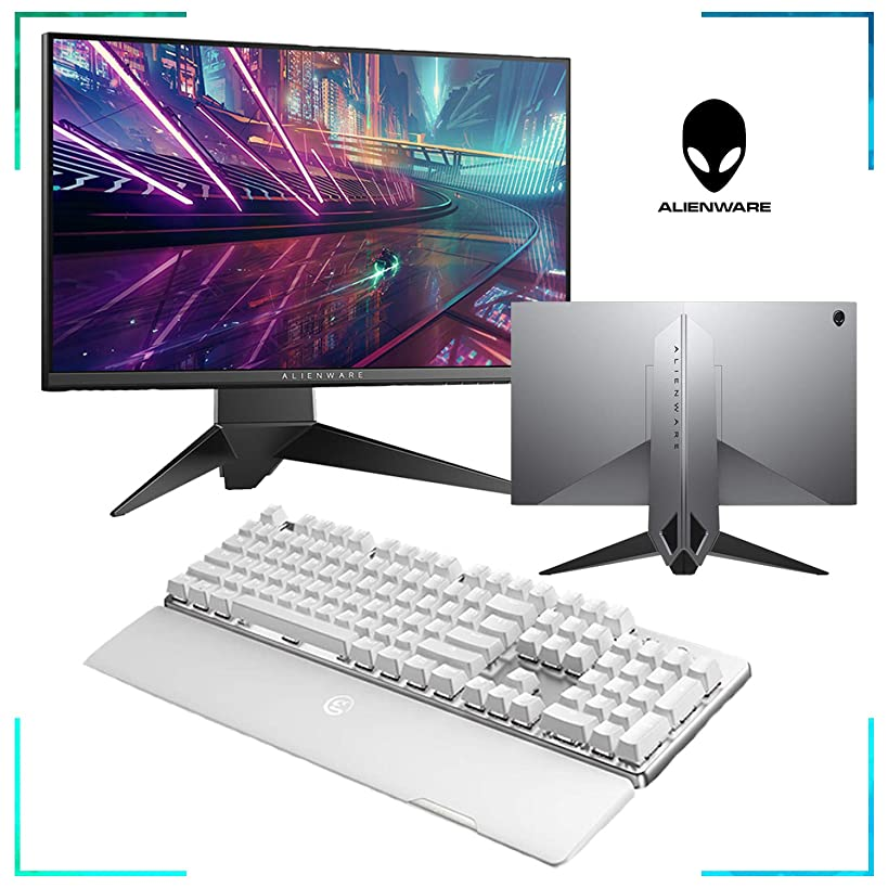 Dell Alienware 24.5 inch Gaming Monitor + GameSir Wireless Mechanical Keyboard White + Wireless Gaming Mouse + Xbox Wireless Controller + RIG Stereo Headset Ultimate Gaming Bundle