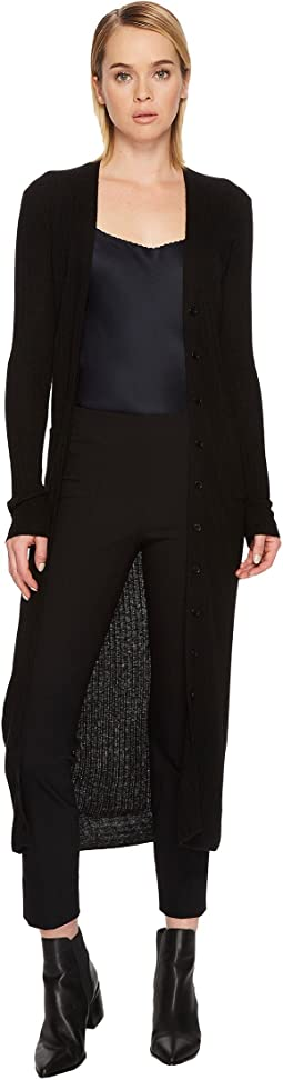 Vince Mixed Rib Long Button Cardigan
