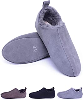Eucoz Men's Sheepskin Slippers with Soft Leather Sole,Shearling House Shoes,Slip on Indoor Slippers for House/Office/Drive
