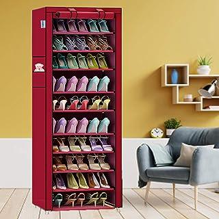 Samdiya Étagère à chaussures sur pied 9 niveaux en métal pliable pour 27 paires de chaussures avec housse en tissu non tis...