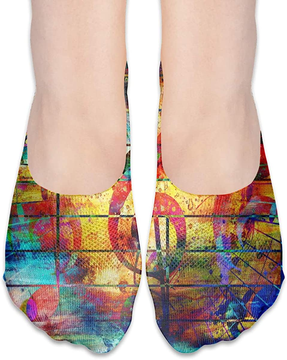 No Show Socks Women Men For Colorful Music Notes Violin Clef Flats Cotton Ultra Low Cut Liner Socks Non Slip