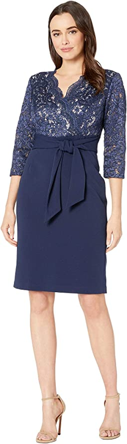Short Surplice Neckline Dress with Tie Front Faux Belt
