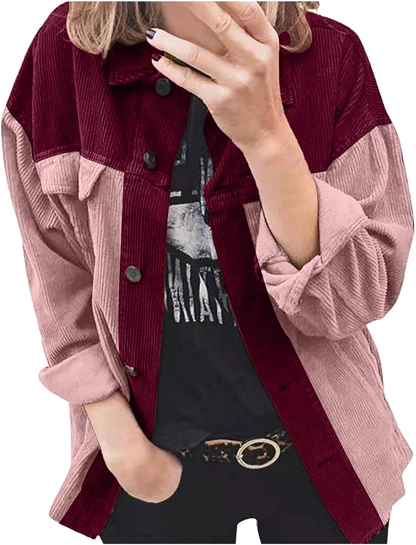 Evangelia.YM Seasonal Wrap Introduction Womens Button-Down Denver Mall Blouse Coat Corduroy L Women for