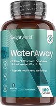 Water Away - Detox, Draineur Rétention d'Eau - 180 Gélules Vegan - Diurétique 100% Naturel - Avec du Pissenlit, Pépins de Raisin, Feuilles de Buchu, Thé Vert, Vinaigre de Cidre de Pomme, Vitamine B6