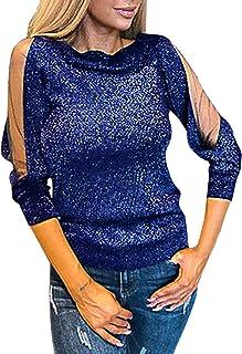 Camiseta de Manga Larga con Purpurina Brillante de Malla