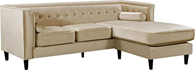 "Meridian Furniture 643BE-Sectional Taylor Collection Modern | Contemporary Beige Velvet Upholstered Reversible Sectional with Deep Tufting and Bolster Style Pillows, 86"" L x 68"" D x 32"" H,"