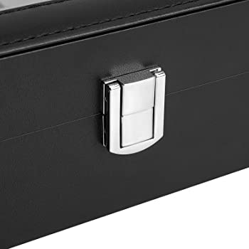SONGMICS 10-Slot Watch Box, Faux Leather Watch Case, with Removable Watch Pillow, Black UJWB010BK