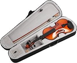 4/4 Violino de madeira maciça - Conjunto de violino artístico de cor natural com caixa rígida, arcos, pontes e resina - Es...