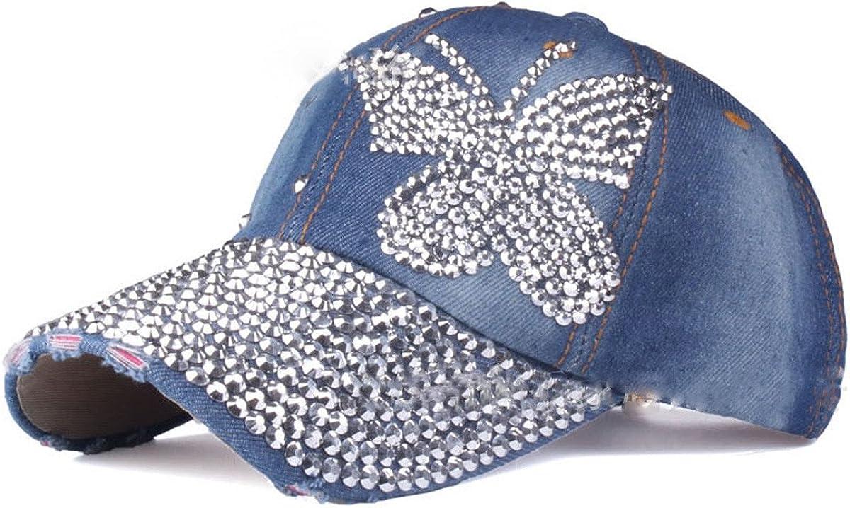 Queenbox Women Rhinestone Studded Bling Baseball Cap Washed Denim Trucker Hat