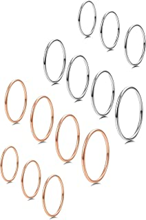 Milacolato 7-14 PCS 1MM Stainless Steel Band Knuckle Stacking Rings for Women Fashion Midi Rings Comfort Fit Size 3-9