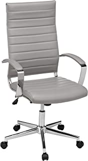 AmazonBasics High-Back Executive Swivel Office Desk Chair with Ribbed Puresoft Upholstery - Grey, Lumbar Support, Modern Style