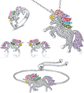 Unicorn Jewelry Set, Include Rainbow Rhinestone Crystal Necklace, Bracelet, Earring, Ring and Gift Box for Girls Gift Set
