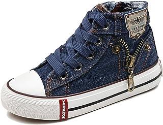 iDuoDuo Kids Classic Lace Up Board Shoes Fashion Rivet Denim Sneakers (Toddler/Little Kid)
