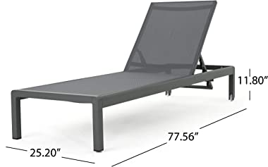 Christopher Knight Home Coral Bay Outdoor Aluminum Chaise Lounges with Mesh Seat, 4-Pcs Set, Grey / Dark Grey