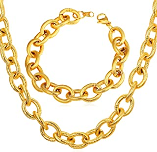 U7 Men Stainless Steel 13mm Wide Circle Link Chain Set, Necklace Length 18-30 Inch, Bracelet 8.3 Inch