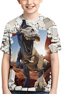 Kids T-Shirt Dinosaur 3D Printed Short Sleeve Crewneck Tshirts Tops Cool Tees for Boys