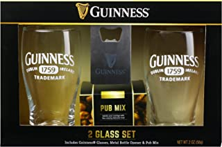 Thoughtfully Gifts, Guinness Pint Glass Gift Set, Includes 2 Guinness Glasses, Metal Bottle Opener and Pub Mix