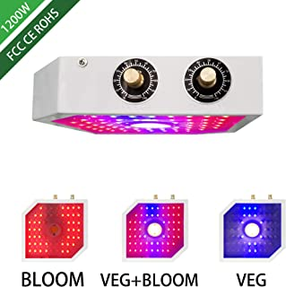 July Run 1200W LED Grow Light for Indoor Plants, Full Spectrum Double Switch Plant Grow Lights for Veg and Flower Growing Plants Lamp, Plant Growing Lights for Hydroponics Greenhouses Gardening