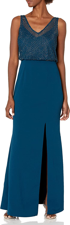 Adrianna Papell Women's Flutter Sleeve Beaded Formal Dress