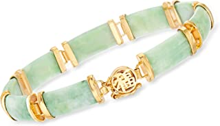 Good Fortune Green Jade Bar Bracelet in 18kt Gold Over...