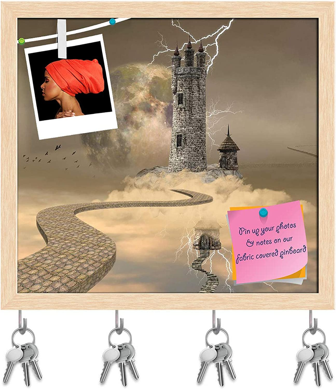 Artzfolio Wizard Tower Key Holder Hooks   Notice Pin Board   Natural Brown Frame 17.4 X 16Inch