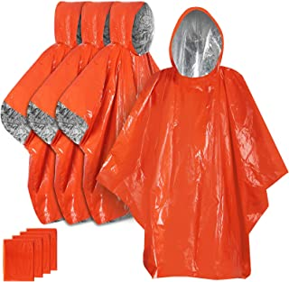 Anyoo Lot de 4 ponchos de pluie imperméables pour le camping, la randonnée, avec côté réfléchissant pour augmenter la visi...