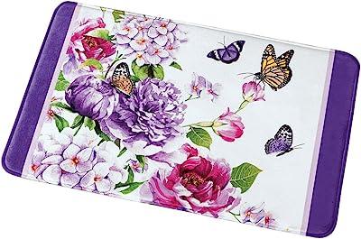 Amazon Com Collections Etc Butterfly Watercolor Floral Decorative Purple White Cushion Bath Mat Home Kitchen