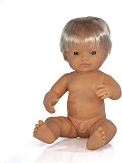 Miniland 15'' Anatomically Correct Baby Doll, Caucasian Boy
