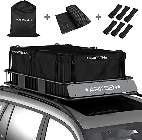 2021 ARKSEN 21.5 Cubic Feet Soft-Shell sale Waterproof Roof Top Luggage Storage Bag Heavy Duty Car Carrier with 10 Reinforced Straps, External Anti-Slip Mat, 6 Door Hooks, lowest for All Vechicles with/Without Rack online