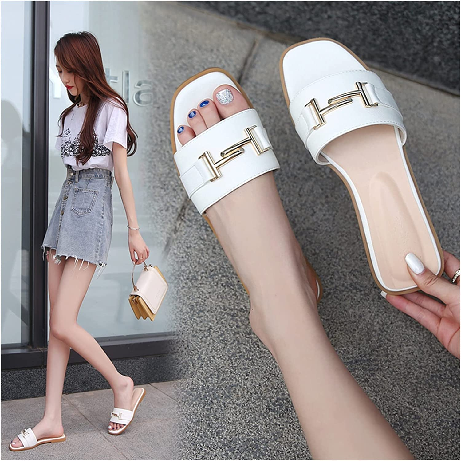 Fashion Slide Sales results No. 1 Sandals for Womens Flats Genuine Beach Square Summer Shoes