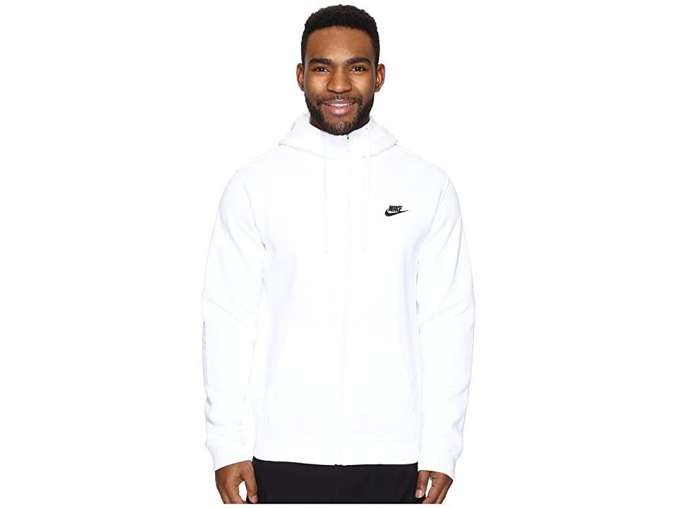 Nike Club Fleece Full-Zip Hoodie (White/White/Black) Men