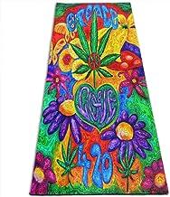 Draagbaar Yogamat Antislip,Fitness-Oefenmat,Peace And Love Flower Leaf Weed Eco-Vriendelijke Gymnastiekmat,Vloeroefeningen...