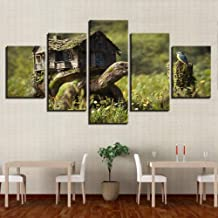 WFUBY Five paintings Decor Wall Art Print Pictures 5 Pieces Wooden House and Animal Turtle Bird Natural Landscape Poster Canvas Modular Painting-30x40x2 30x60x2 30x80cm (no frame)