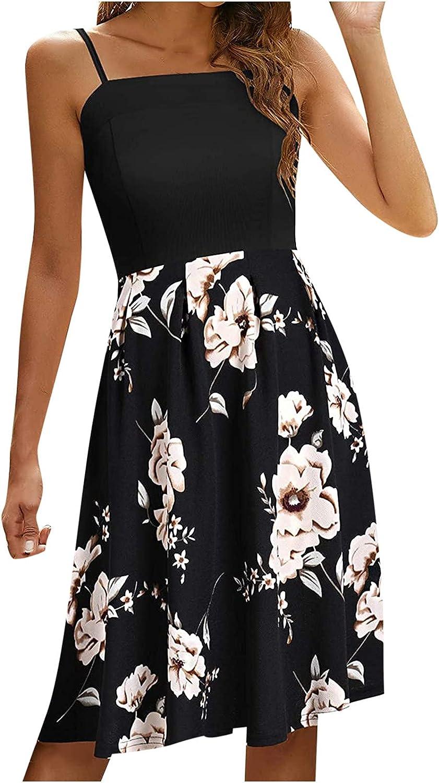 PAPIYON Women's Spaghetti Strap Satin Dress Fashion Printed High Waisted Tunic Dress Swing Flowy Patchwork Maxi Dress
