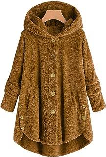 KYLEON Women's Coat Casual Winter Warm Sherpa Lined Button Hooded Sweatshirt Jacket Fleece Fuzzy Oversized Cardigan Coat