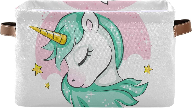 Topics on TV Biekaya Cute Magical Unicorn Foldable Handle Shipping included Bin with Storage Co