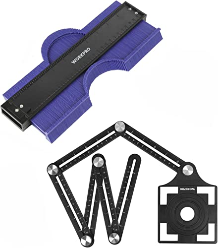 "discount WORKPRO wholesale 10"" online sale Contour Gauge and 6-Sided Angle Measuring Tool Combo Kit, Plastic Shape Contour Gauge Duplicator, Aluminum Alloy Multi Angle Measuring Ruler outlet sale"