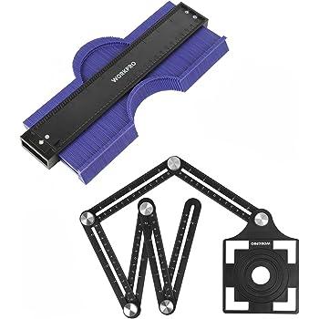 "WORKPRO 10"" Contour Gauge and 6-Sided Angle Measuring Tool Combo Kit, Plastic Shape Contour Gauge Duplicator, Aluminum Alloy Multi Angle Measuring Ruler"