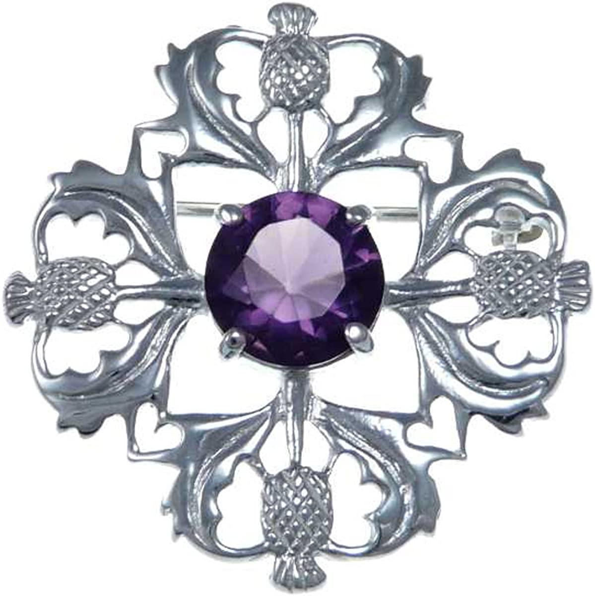 Sterling Silver Purple Selling and selling Stone Thistle - Brooch Selling rankings Pin Scottish