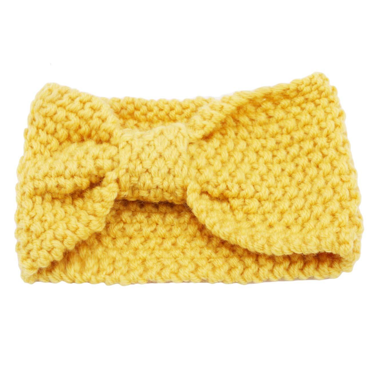 ZALING Solid Color Handmade Warm Winter Headbands Women's Knitted Cross Headband Ear Warmers Crochet Head Wraps for Female, Yellow