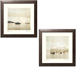 wallsthatspeak Serene Harbor Boat Photography Reproduction Set by Amy Melious; Coastal Décor; Two 12x12in Brown Framed Prints