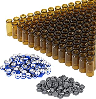 10ml Amber Glass Vials with Plastic-Aluminum Caps and Rubber Stoppers, 100 Pack, 20mm Flat Bottom Headspace Lab Vial(Amber)