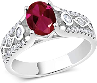 Gem Stone King 925 Sterling Silver Red Created Ruby Women's Engagement Ring, 1.71 Cttw, Center 8X6MM