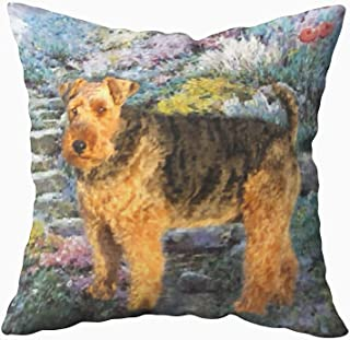 Musesh Welsh Terrier Art Cushions Case Throw Pillow Cover for Sofa Home Decorative Pillowslip Gift Ideas Household Pillowcase Zippered Pillow Covers 20X20Inch