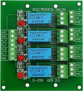 ELECTRONICS-SALON Four DPDT Signal Relay Module Board, 24V version.