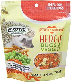 Hedgie Bugs & Veggie Treat (5.5 oz.) - Healthy, Nutritious & Natural High Protein Treat with Carrots, Apples, Peas, Crickets, Mealworms - for Pet Hedgehogs & Other Insectivores