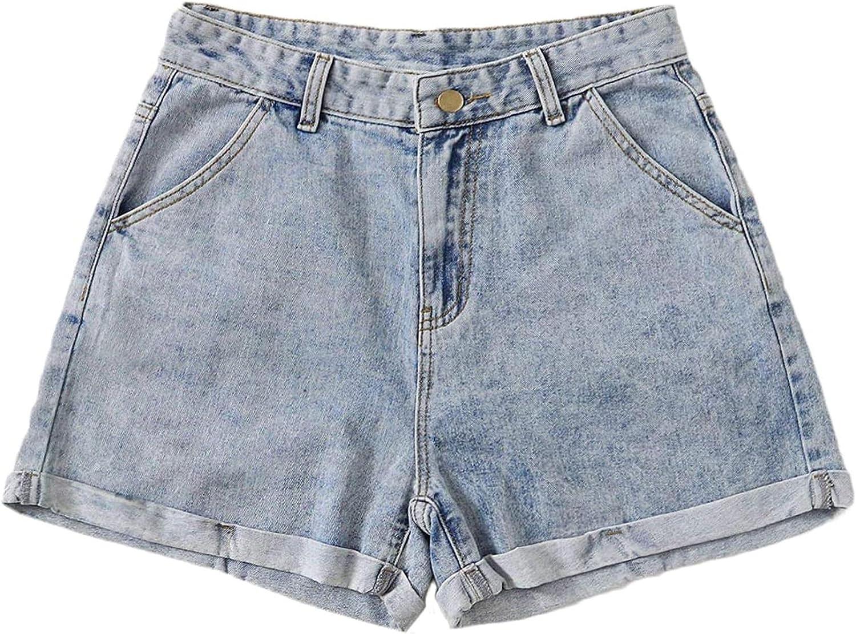 Women's Casual High Waist Rolled Hem Button Straight Leg Denim Jean Shorts