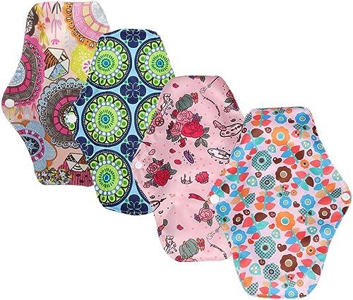 4 pcs 25.5cm Serviettes Hygiéniques Lavables Pads Menstruel ,Tissu de menstruation avec tissu de bambou,Respirant, hy...