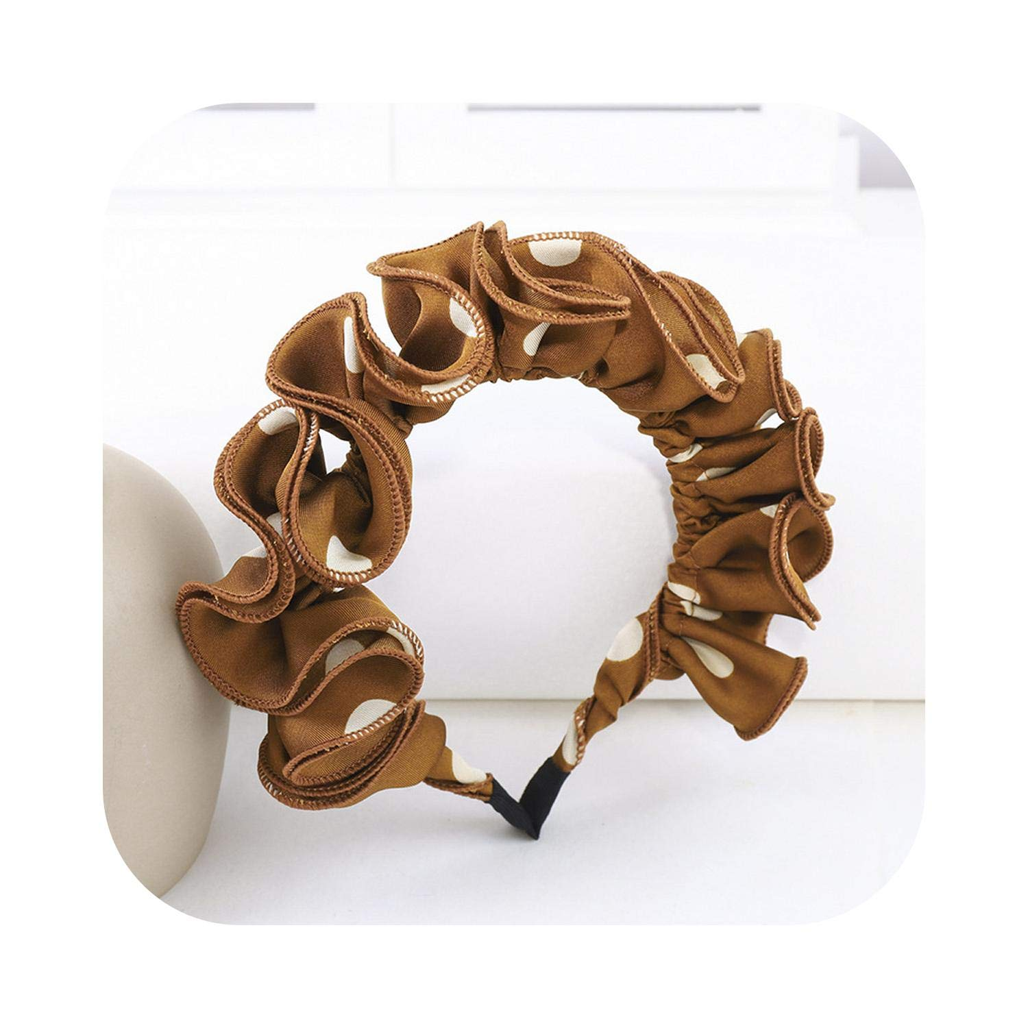 Folds Big Dot Bands Women Simple Wave Point Hairband Sweet Girls Solid Bezel Hair Hoop Fashion Accessories-2-Size fits all